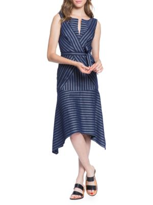 TRACY REESE Directional Stripe A-Line Dress in India Ink