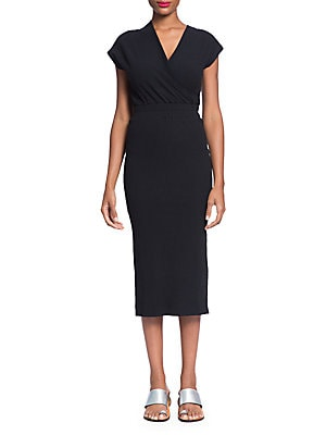 TRACY REESE Ribbed Wrap Top Dress in Black