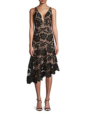 TRACY REESE Lace Asymmetrical Hem in Black