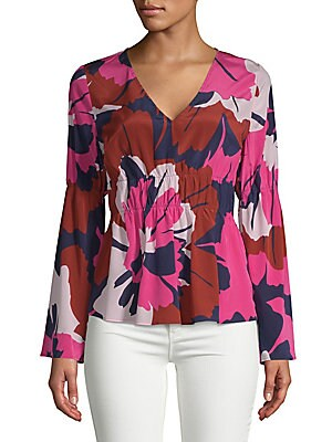 TRACY REESE Floral Ruched Blouse in Bright Floral