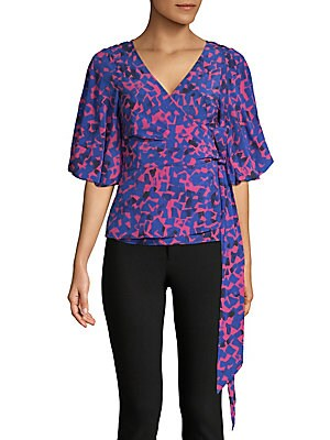 TRACY REESE Silk-Blend Wrap Blouse in Cobalt Multi
