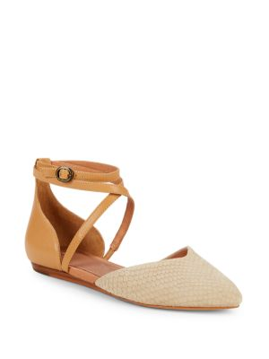 Izabel Leather Ankle-Strap D'Orsay Flats in Pearl