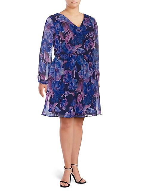 Alexia Admor PLUS FLORAL-PRINT CHIFFON DRESS