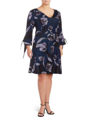 Alexia Admor Plus Floral-Print Fit-&-Flare Dress