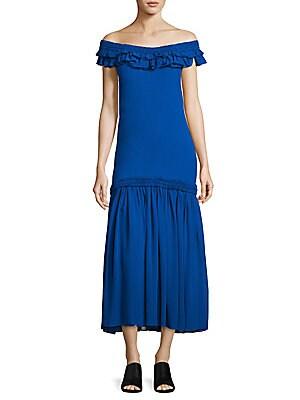 Ruffled Off-The-Shoulder Silk Chiffon Maxi Dress