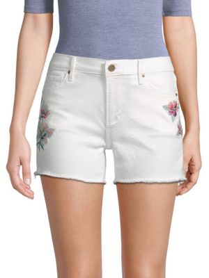 DRIFTWOOD Floral Embroidered Jean Shorts in White