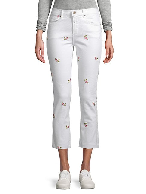 Driftwood CANDACE FLORAL-EMBROIDERED CROPPED SKINNY JEANS