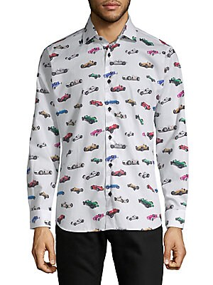 Cotton Race Car Button-Down Shirt