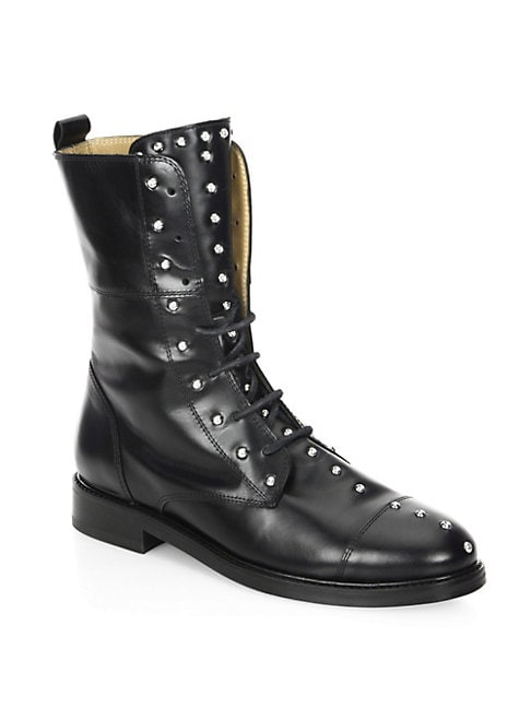 Rangy Studded Leather Combat Boots