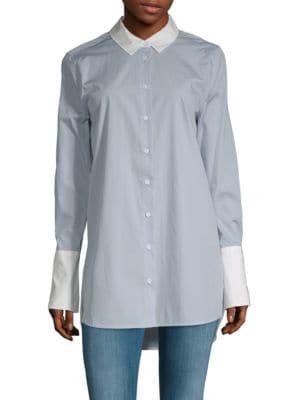 Hi-Lo Cotton Button-Down Shirt, Pearl Blue