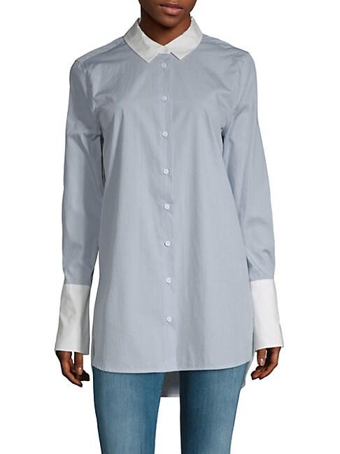 Hi-Lo Cotton Button-Down Shirt