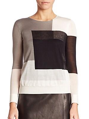 Geometric Intarsia Silk Knit Pullover