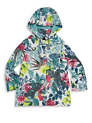 Little Girl's & Girl's Floral Hooded Windbreaker