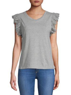 ZERO DEGREES CELSIUS Ruffle Linen T-Shirt in Grey