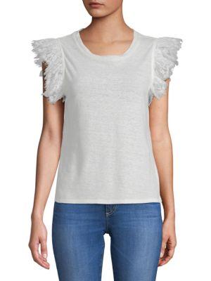 ZERO DEGREES CELSIUS Ruffle Linen T-Shirt in Ivory