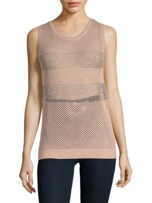 ZERO DEGREES CELSIUS Crochet Knit Tank Top in Brush Pink