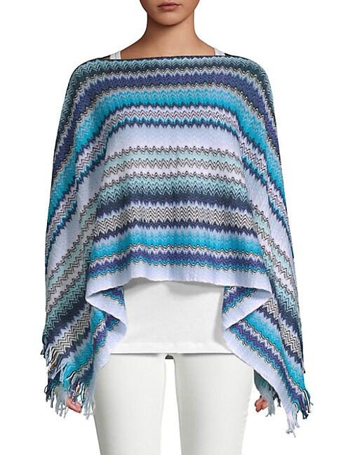 Crochet Fringe Stripe Poncho