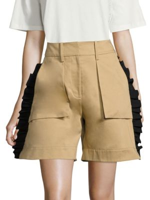 Mousa Twill Cotton Shorts in Curry