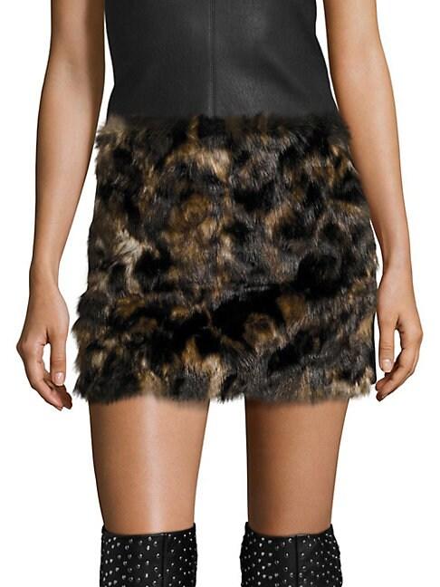 Tortoise Faux Fur Skirt, Dark Honey Multi