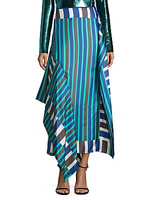 Side-Tie Bias Silk Skirt