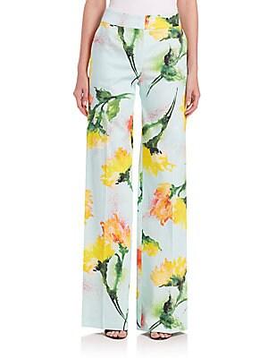 Carnation-Print Wide-Leg Pants
