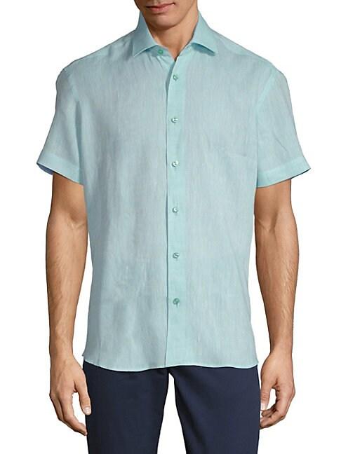BERTIGO | Dobby Linen Button-Down Shirt | Goxip