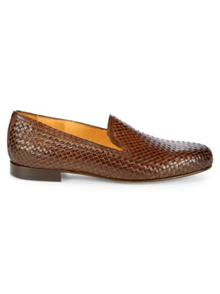 Double Gore Woven Leather Loafers by Saks Fifth Avenue Made In Italy