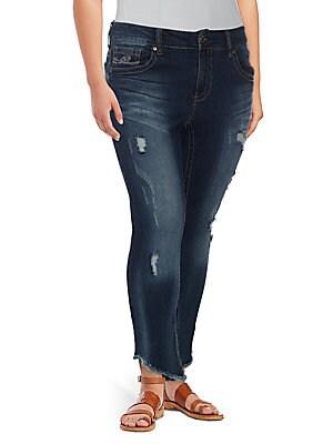 8efec3e4f8830 Seven7 - Plus Distressed High-Rise Cropped Jeans - saksoff5th.com
