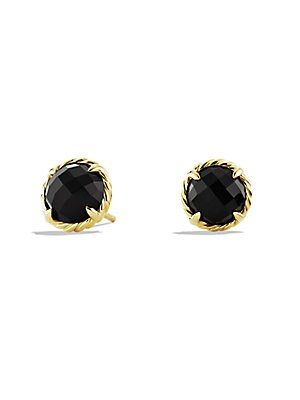 Chatelaine 18K Yellow Gold & Onyx Stud Earrings