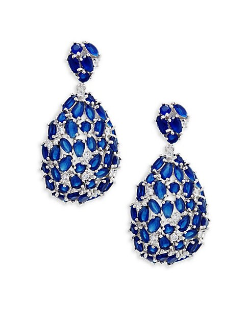 Crystal, Sapphire and Sterling Silver Teardrop Earrings
