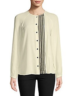 41b16ad29b056c Derek Lam Collarless Silk Button-Down Shirt IVORY on sale at Saks ...