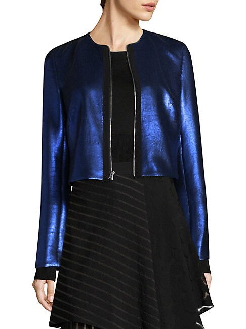 Metallic Zip-Front Jacket
