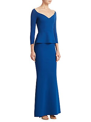 QUARTER-SLEEVE FORMAL GOWN