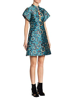 Lurex Jacquard Floral A-Line Dress