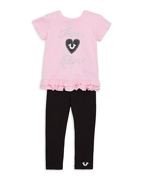 Little Girls Ruffled Tee And Leggings Set