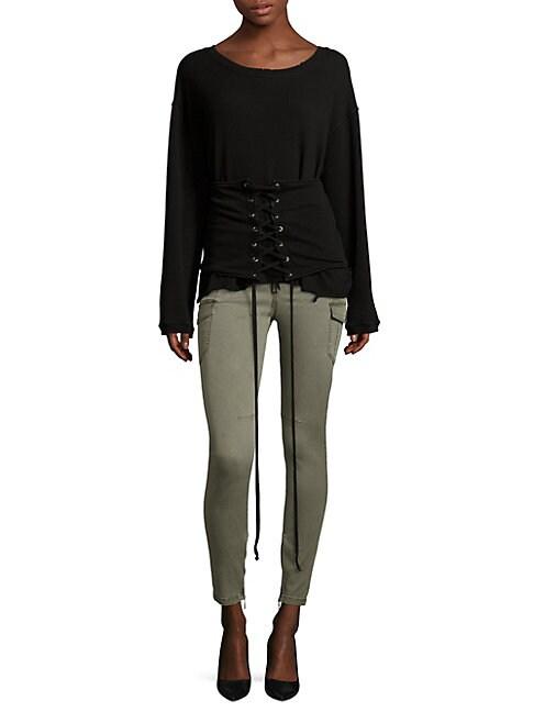 Colette Distressed Lace-Up Cotton Sweatshirt