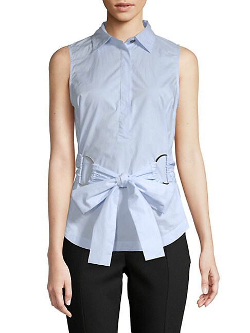 Front-Tie Sleeveless Cotton Top