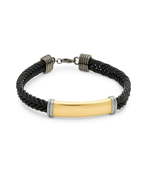 EFFY | Sterling Silver and Leather Braided Bracelet | Goxip