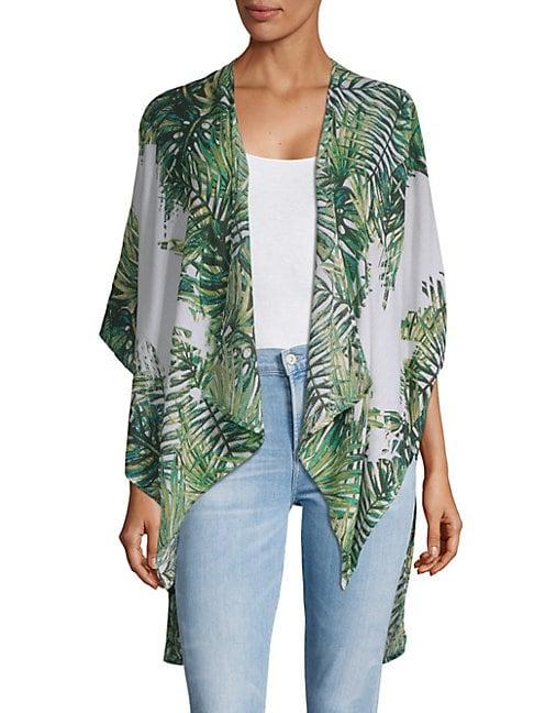 Tropical-Print Wrap Cardigan