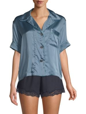 Araks Shelby Dotted Silk Twill Pajama Top In Ocean  f3557c598