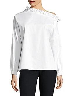 Tibi - Cotton One-Shoulder Top