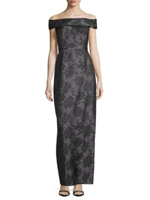Karl Lagerfeld  Floral Jacquard Off-The-Shoulder Gown