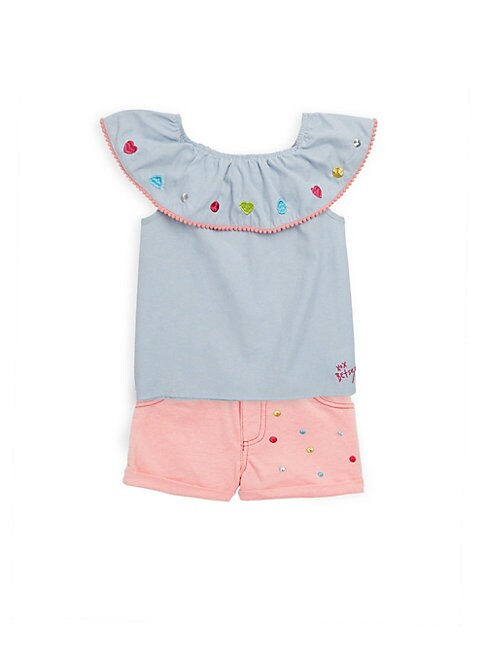 LITTLE GIRL'S TWO-PIECE EMBROIDERED TOP AND SHORTS SET