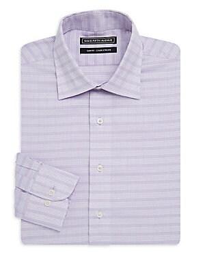 Windowpane Cotton Dress Shirt