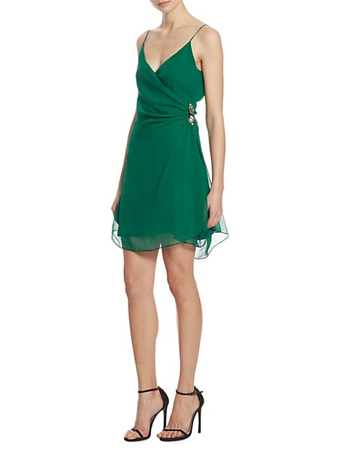 Leroux Embellished Ruched Silk Dress