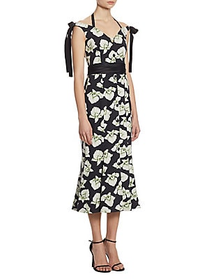 Blakely Orchid-Print Silk Dress