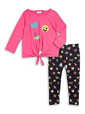 Little Girl's Emoji Top and Leggings Set