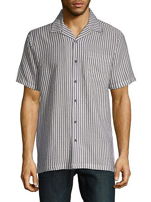 Stripe Short-Sleeve Camp Button-Down Shirt