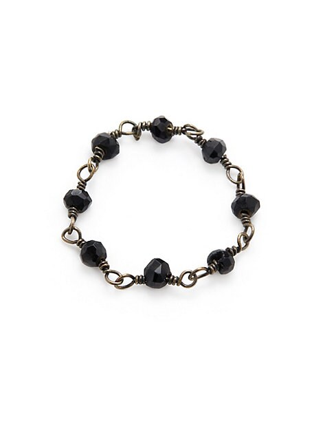ADORNIA | Black Spinel and Silver Rosary Bead Ring | Goxip