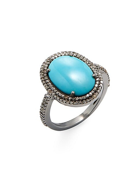 Diamond, Turquoise and Silver Cabochon Sleeping Beauty Gemma Ring